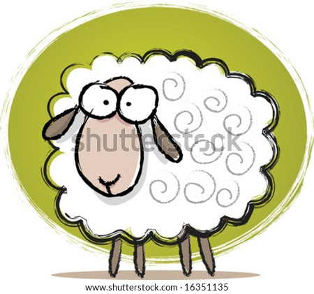 Illustration of Sketch Cute Sheep - stock vector