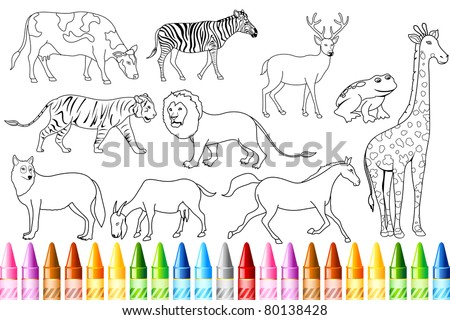 illustration of sketch of animal with colorful crayon for color book - stock vector
