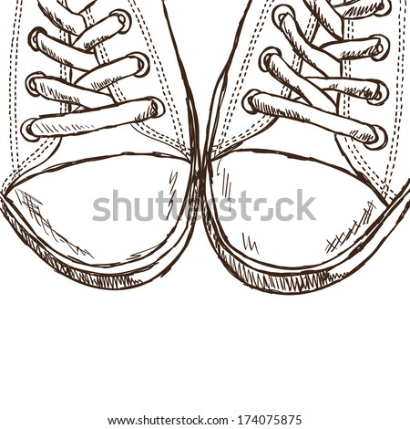 Illustration of sketchy sneakers - hand drawn picture - stock vector