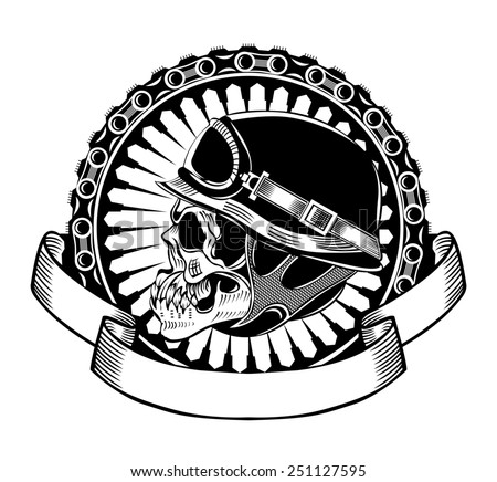 Illustration of skull motorcyclists with helmet. - stock vector