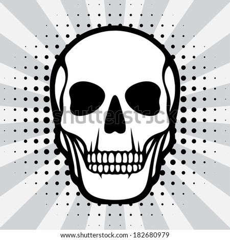 Illustration of skull on pop art background. - stock vector