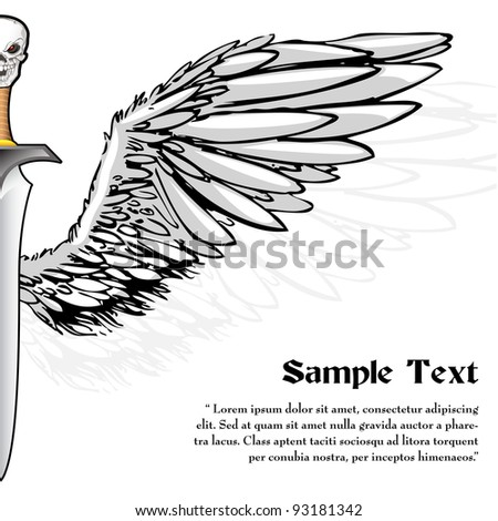 illustration of skull on sword handle with wing - stock vector