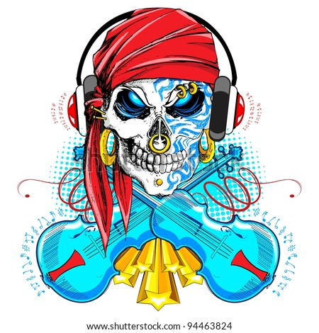 illustration of skull wearing headphone and violin