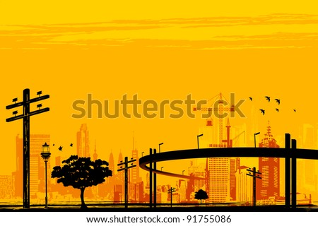 illustration of skyscraper and over bridge in urban infrastructure - stock vector