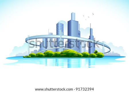 illustration of skyscraper in urban city - stock vector