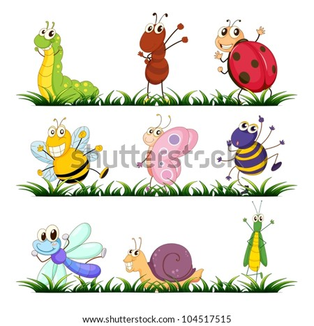 Illustration of small creature on white - stock vector