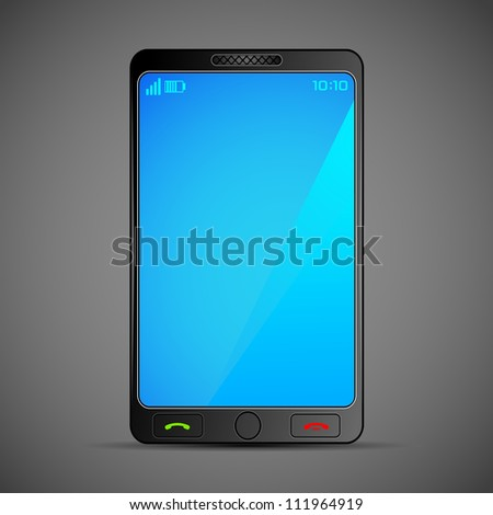 illustration of smart mobile phone on abstract background - stock vector