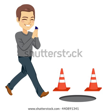 Illustration of smartphone addiction concept with man checking phone about to fall in a manhole - stock vector
