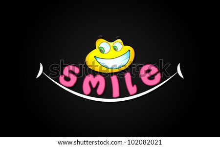 illustration of smile expression with smiley face - stock vector