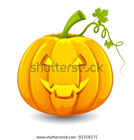 illustration of smiley face carved in pumpkin for halloween - stock vector