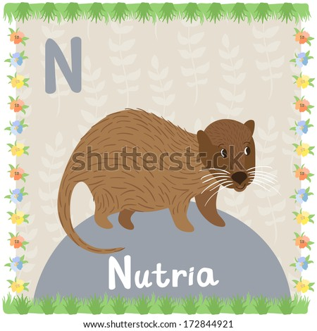 Illustration of smiling nutria on the background with floral elements. Vector card of animal alphabet - stock vector