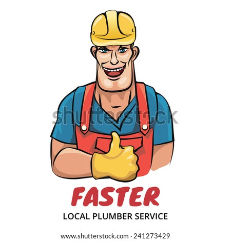 Illustration of smiling plumber isolated on white. Good for your service company logo - stock vector