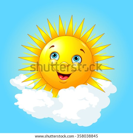 Illustration of smiling sun on the cloud - stock vector
