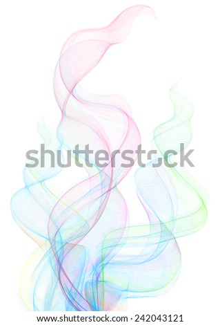 Illustration of smoke clouds in various colors isolated  - stock vector