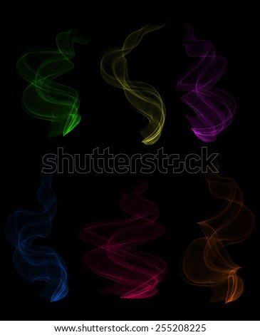 Illustration of smoke clouds in various colors on black background  - stock vector