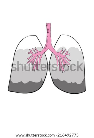 Illustration of smoke filled lungs - stock vector