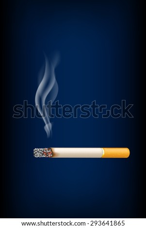 illustration of smoked cigarette on with smoke on dark blue background - stock vector