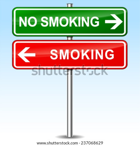 illustration of smoking and no smoking directions sign