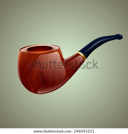 illustration of smoking pipe on grey background