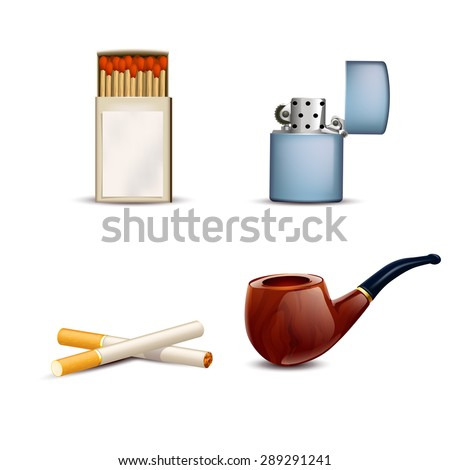 illustration of smoking stuff set pipe, lighter, matches, cigarettes on white background - stock vector