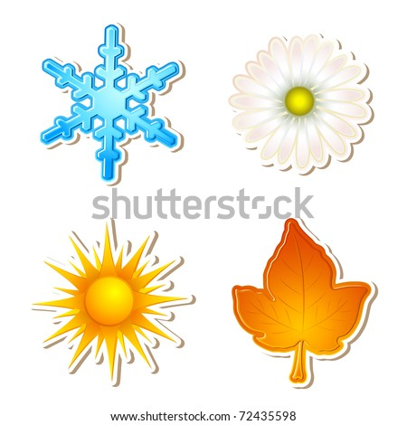 illustration of snowflake,daisy,sun and maple leaf showing four season - stock vector