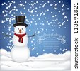 illustration of snowman, on a background of snow and snowflakes, vector illustration - stock photo