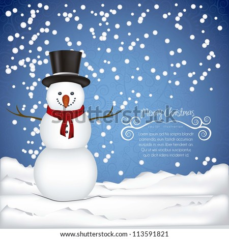 illustration of snowman, on a background of snow and snowflakes, vector illustration - stock vector