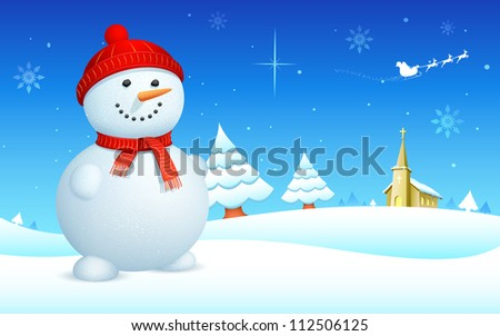 illustration of snowman on snowy landscape in christmas night - stock vector