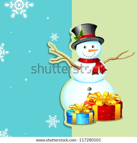 illustration of snowman with gift box in Christmas card - stock vector