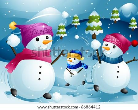 Illustration of Snowmen Having a Snowball Fight - stock vector