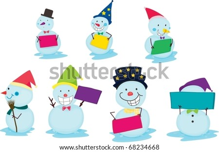 illustration of snowmen on a white background