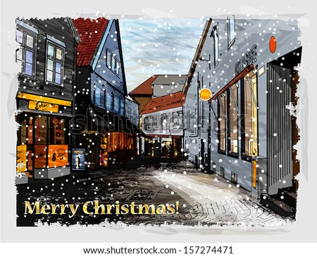 Illustration of snowy street. Christmas greeting card. - stock vector