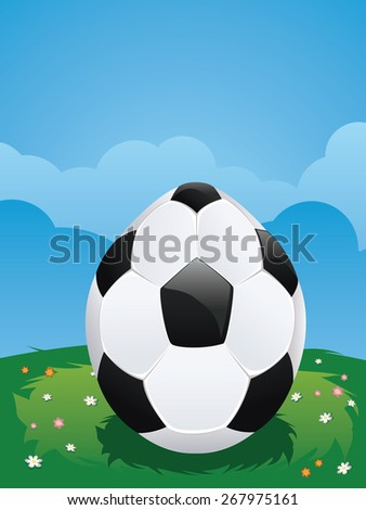 Illustration of soccer ball decorated easter egg on green lawn. - stock vector