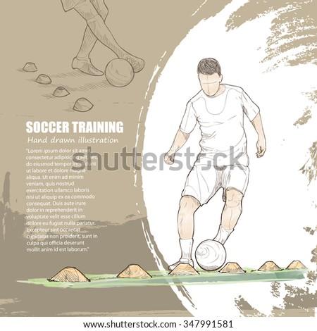 illustration of soccer training. soccer background. - stock vector