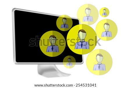 Illustration of social media heads with computer - stock vector
