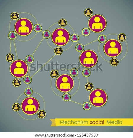 illustration of Social Media Infographic, with social networks infographic, vector illustration - stock vector