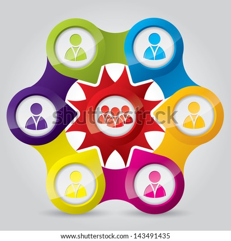 Illustration of social network connections of individuals and teams - stock vector