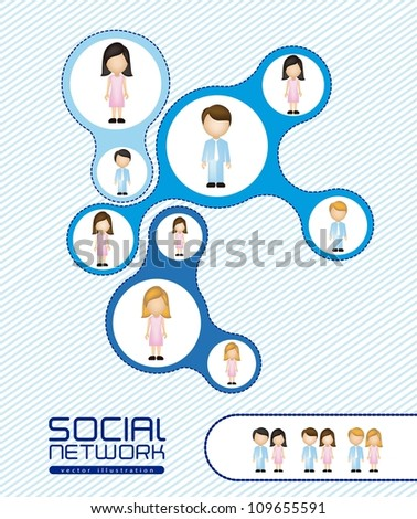illustration of social networks with characters, vector illustration - stock vector