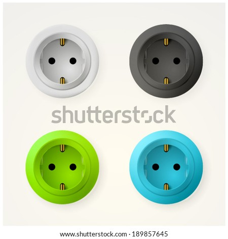 Illustration of sockets. Set of colored circle sockets. Four isolated vector illustration on white. - stock vector