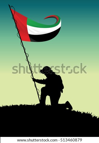 Illustration of soldier raising UAE flag on hill