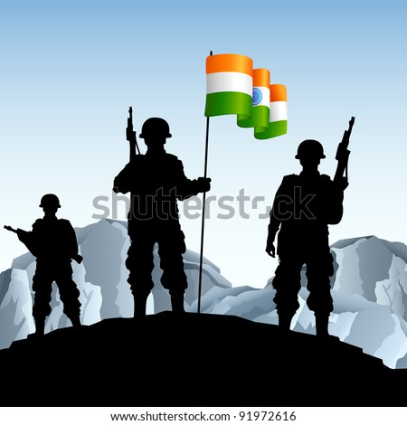 illustration of soldier standing on hill with Indian flag - stock vector
