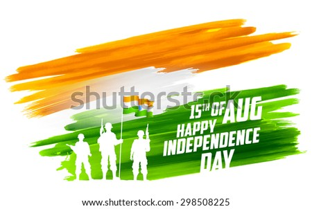 illustration of soldier standing on tricolor flag of India backdrop - stock vector