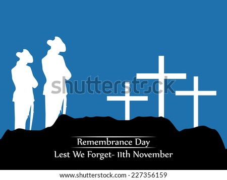 Illustration of Soldiers on Grave for Remembrance Day - stock vector