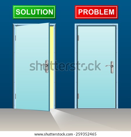 illustration of solution and problem doors concept
