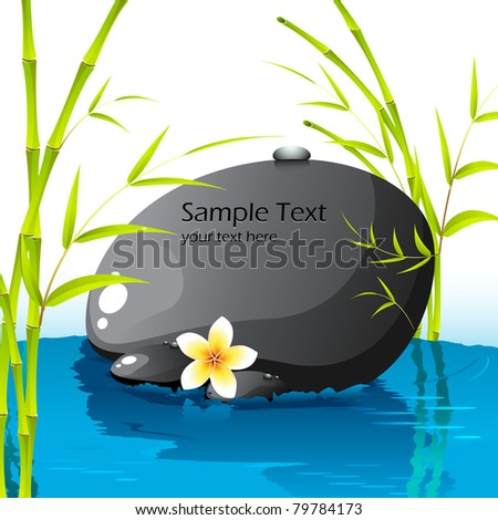 illustration of spa stone with bamboo leaves and flower