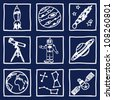 Illustration of space and astronomy icons - hand drawn pictures - stock vector
