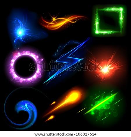 illustration of sparkling glowing light effect design element & Illustration Sparkling Glowing Light Effect Design Stock Vector ...