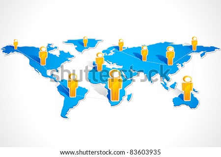 illustration of speech bubble headed human icon connected on the world map - stock vector
