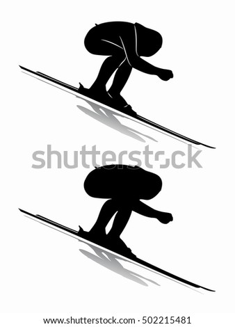 illustration of speed skier  , black and white drawing, white background