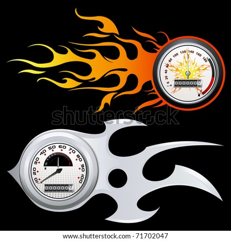 illustration of speedometer with flame on black background - stock vector